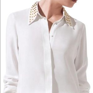Studded Collar Silk Blouse